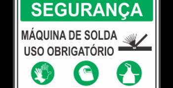 Placa Segurança Máquina de Solda Use EPI