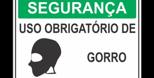 Placa de EPI Uso Obrigatório de Gorro
