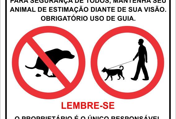 Placa Aviso Uso de Guia no Cão