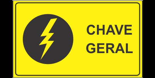 Placa Chave Geral Risco de Choque