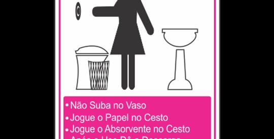 Placa de Regras de Sanitário Feminino