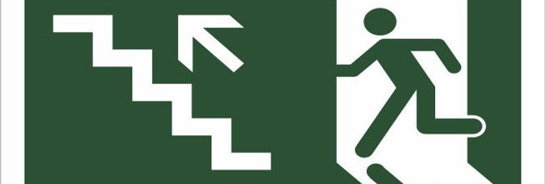 Placa de Sinalização Rota de Fuga Escada Subindo a Esquerda