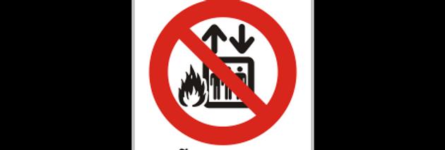 Placa de Sinalização Em Caso de Incêndio Não Utilize o Elevador
