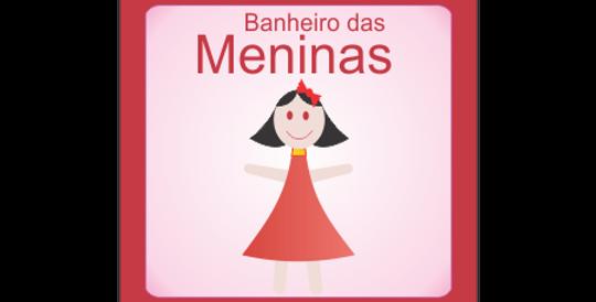 Placa de Sinalização Banheiro Infantil Menina