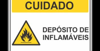Placa de Cuidado Depósito de Inflamáveis