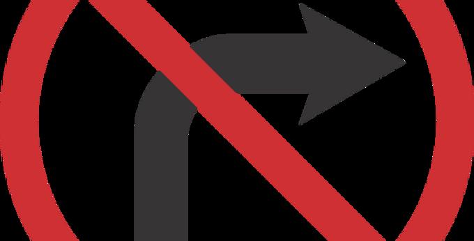 Placa Proibido Virar a Direita