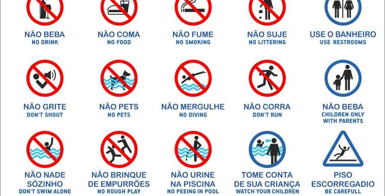 Placa Normas de Piscina Português Inglês