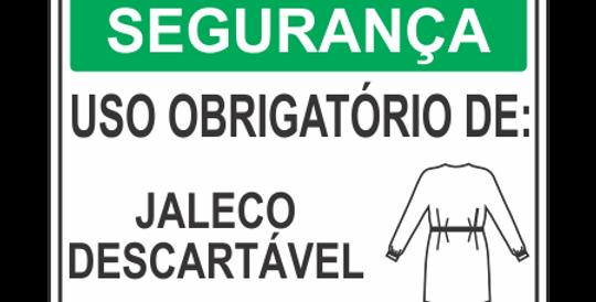 Placa de EPI Uso Obrigatório de Jaleco Descartável