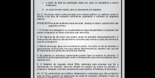 Placa Normas de Conservação e Uso do Elevador