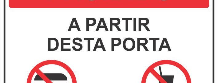 Placa Proibido Comer ou Beber a Partir Desta Porta
