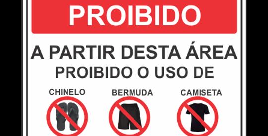 Placa Proibido Chinelo Bermuda Camiseta