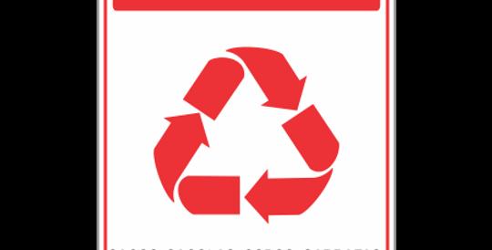 Placa de Sinalização de Coleta Seletiva Plástico