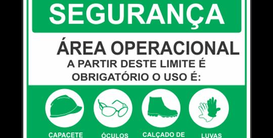 Placa de EPI Uso Obrigatório Área Operacional