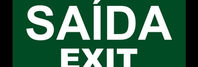 Placa de Sinalização de Emergência Saída Exit