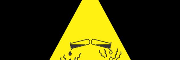 Placa de Sinalização Advertência Risco de Corrosão