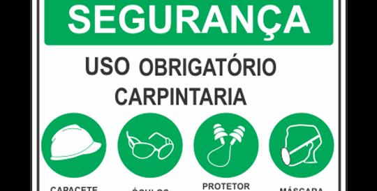 Placa de EPI Uso Obrigatório Carpintaria