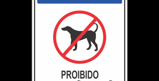 Placa Aviso Proibido a Circulação de Cães
