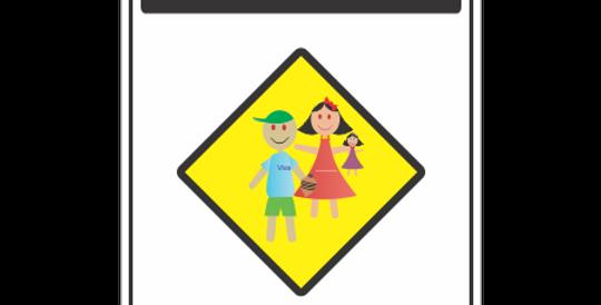 Placa Cuidado Crianças