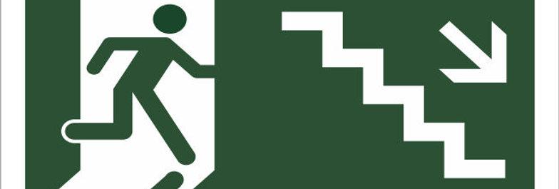 Placa de Sinalização Rota de Fuga Escada Descendo a Direita