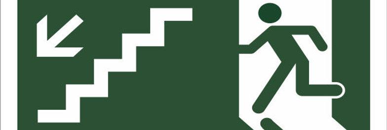 Placa de Sinalização de Rota de Fuga Escada Descendo a Esquerda