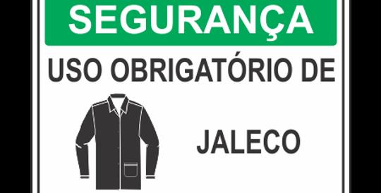 Placa de EPI Uso Obrigatório de Jaleco