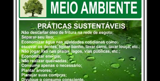 Placa Meio Ambiente Práticas Sustentáveis