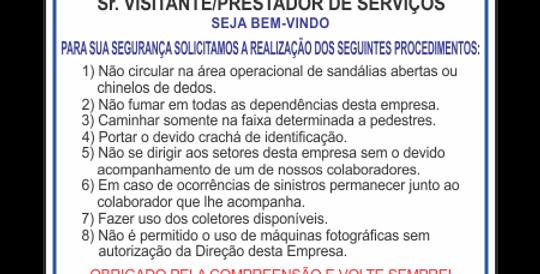 Placa Regras Visitantes e Prestadores de Serviço