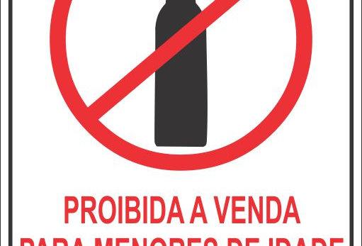 Placa Proibido Venda de Bebida Alcoólica para Menores