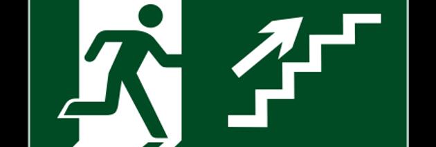 Placa de Sinalização Rota de Fuga Escada Sub Dir