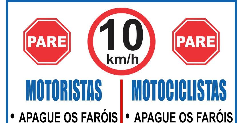 Placa Atenção Regulamento Motoristas e Motociclistas
