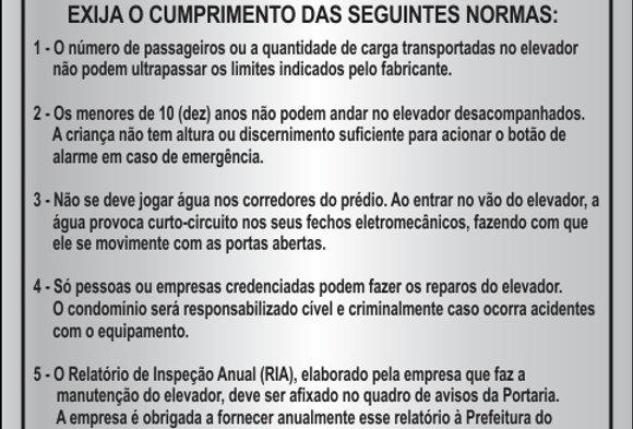 Placa Elevador Lei 2546 Evite Acidentes
