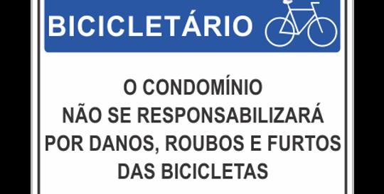 Placa de Sinalização de Bicicletário com texto