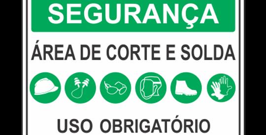 Placa de EPI Uso Obrigatório Área de Corte e Solda