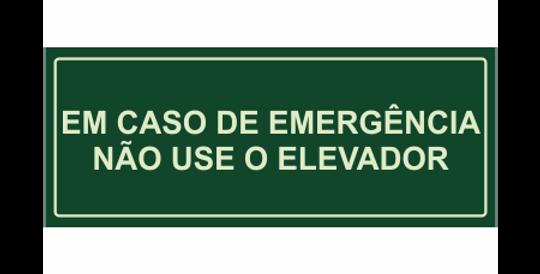 Placa Em Caso de Emergência não use o Elevador