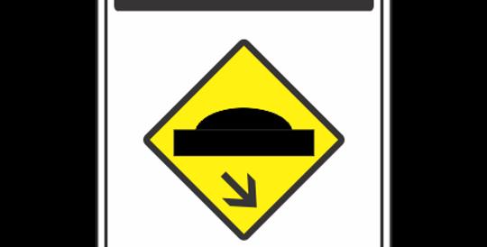 Placa Atenção Lombada a Direita