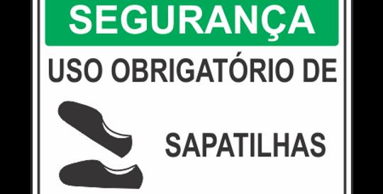 Placa de EPI Uso Obrigatório de Sapatilhas