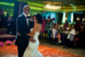 Couple enjoying the first dance at their wedding.