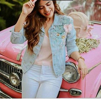 "Flower patch jackets ❤ Free size upto 36"" Fabric: denim P"