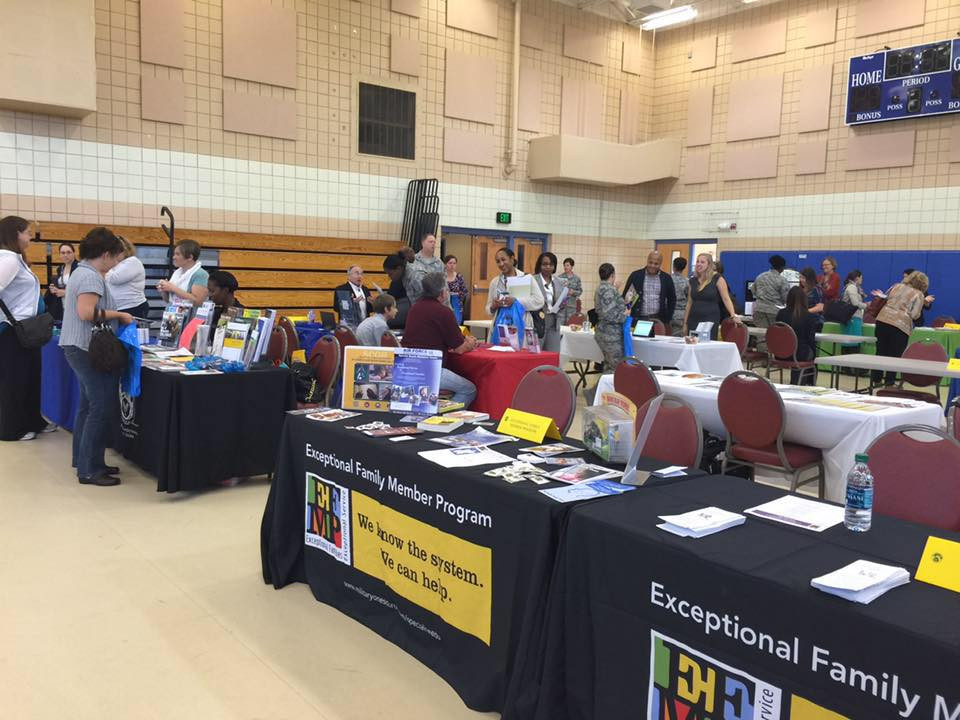 Attendees and vendors at military EFMP Resource Fair