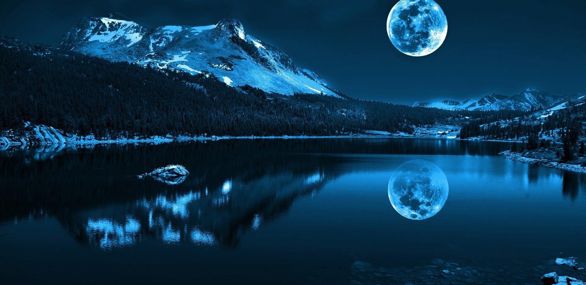 Full Moon Over Lake
