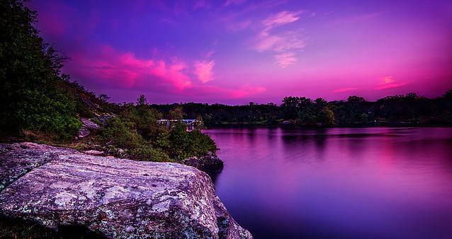 Violet Sunset Over Calm Lake