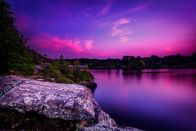 Violet Sunset Over Calm Lake