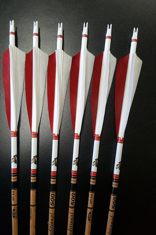 1 Dz Left Wing Fletched Gold Tip Traditional Arrows