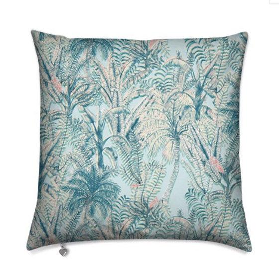 Baby blue tropical cushion