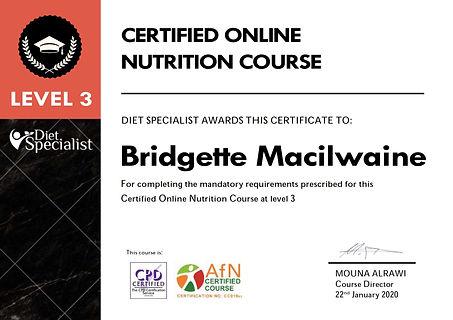 Certificate - Bridgette Macilwaine L3.jp