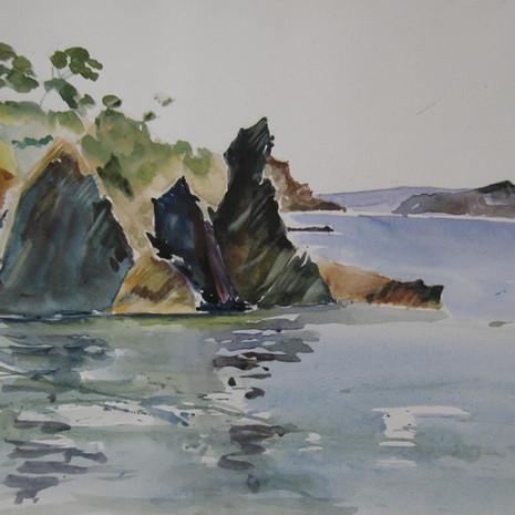 Les rochers  38 x28 cm