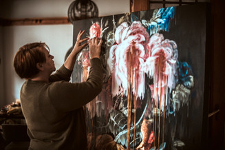 (Artist in studio)  2020  Oil on canvas   180 x 120 cm   (COMMISSIONED WORK FOR EDGARS & VMLYR 2020 WINTER CAMPAIGN)