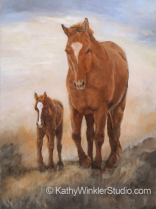 """Isn't She Lovely 1"" Horses, Giclée"