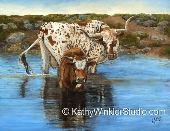 """""""Someone to Watch Over Me"""" Texas Longhorn Giclée"""