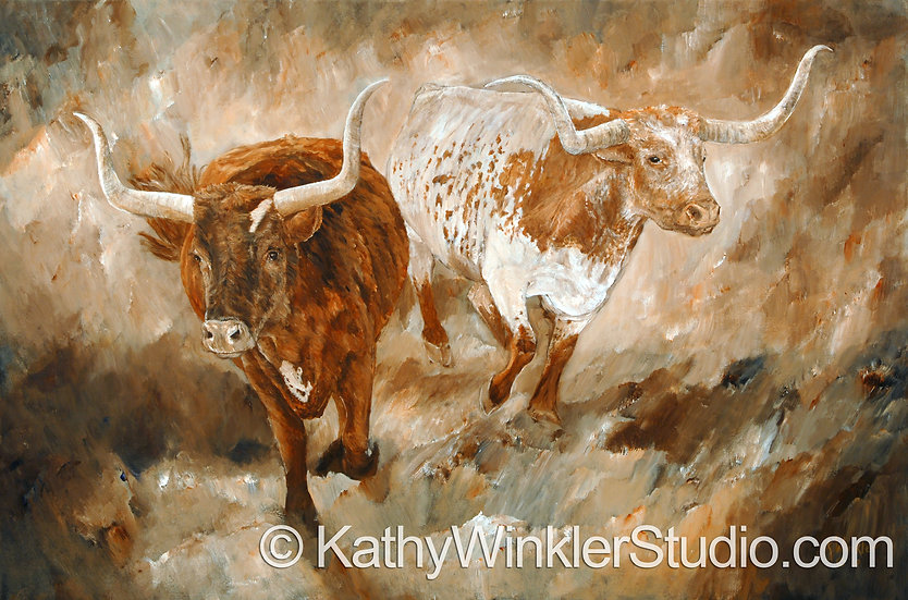 """Freedom"" Texas Longhorn Steers Giclée"